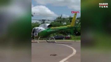 Helikoptere kamyon çarptı