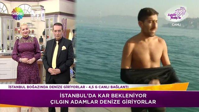 İstanbul'da kar beklenirken çılgın adamlar denize giriyor!