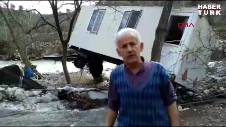 5 tonluk konteyner ev sel sularına kapıldı