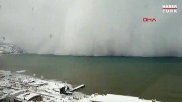 Kar fırtınası deniz üzerinden böyle geldi