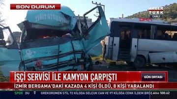 İşçi servisi ile kamyon çarpıştı