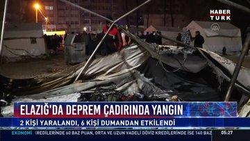 Elazığ'da deprem çadırında yangın