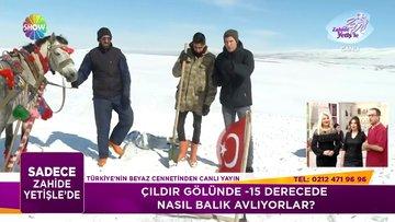 Buz tutmuş Çıldır Gölü'nde yaşam mücadelesi!