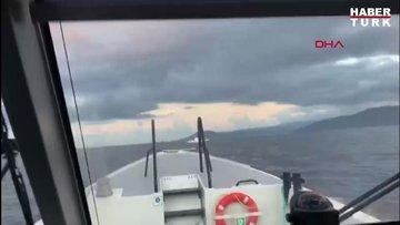 Sahil Güvenlik Gemisi, geri itme sebebiyle Türk karasularına giren Yunan gemisini, böyle uzaklaştırdı