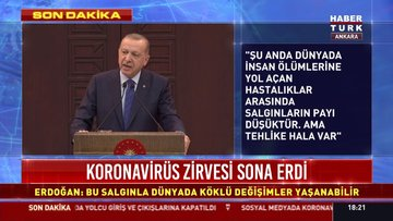 Cumhurbaşkanı Erdoğan, Çankaya Köşkü'nde koronavirüs toplantısının ardından açıklama yapıyor