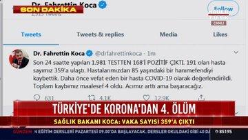 Sağlık Bakanı Koca yeni vaka sayısını açıkladı. Türkiye'deki koronavirüs vaka sayısı: 359