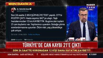Son dakika: Türkiye'de koronavirüsten ölenlerin sayısı 21'e yükseldi