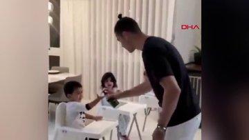 Ünlü futbolcu Ronaldo'dan çocuklarına dezenfekte