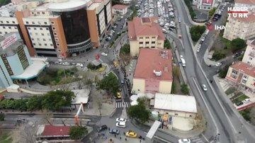 Bakırköy'de 'korona' testi kuyruğu havadan görüntülendi