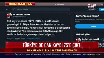Türkiye'de koronavirüs toplam 75 can aldı! Toplam vaka sayısı 3.629 oldu