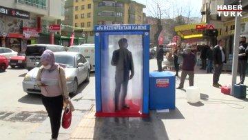 Ankara'da dezenfeksiyon kabininde kuyruk