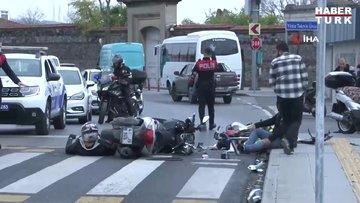 Beşiktaş'ta boş yolda motosikletliler çarpıştı: 2 yaralı