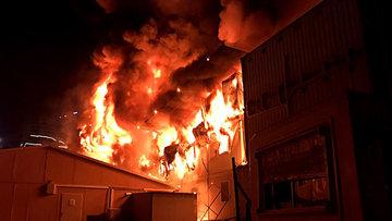 İstanbul'da inşaat alanında korkutan yangın