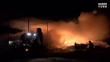 Samanlık yangınında 600 ton saman kül oldu