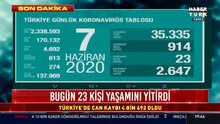 7 Haziran koronavirüs tablosu Türkiye!