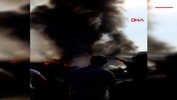 Tarsus Hali'nde yangın çıktı, plastik kasalar alev aldı