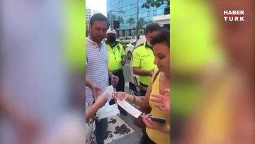 Deprem paniğinde ceza kesmeyip maske dağıttılar