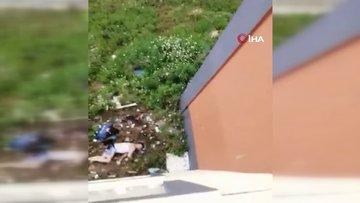 Polisten kaçarken 3. kattan atlayıp belini kırdı, düştüğü yerde böyle görüntülendi