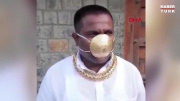 Hindistan'da virüsten korunmak için altından maske yaptırdı