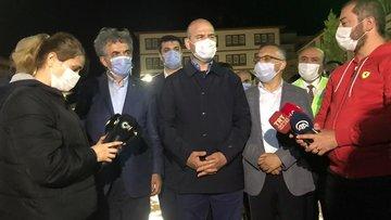 Bakan Soylu, afetin yaşandığı Çayeli'nde inceleme yaptı