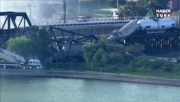 ABD'de raydan çıkan tren köprüde alev aldı!