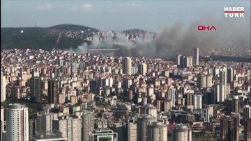 Maltepe'de askeri alanda yangın çıktı! Yangın havadan görüntülendi