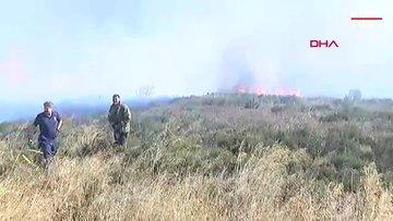 Maltepe'de askeri alanda çıkan yangına ekipler müdahale ediyor