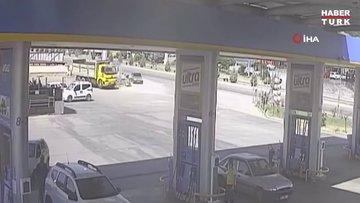 Kendi kullandığı kamyonun altında kaldığı anlar kamerada