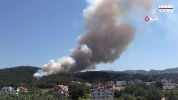 Bursa'da orman yangını...Alevler villalara yaklaşıyor