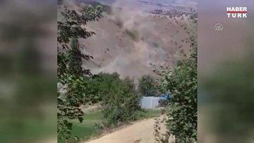 Malatya'daki deprem anında toz bulutu oluştu