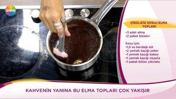 Çikolata soslu elma topları