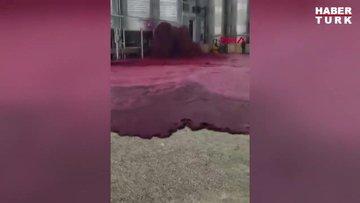 İspanya'da şarap tankı patladı, çevre kırmızıya boyandı