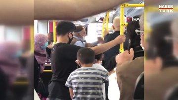 Halk otobüsünde tokatlı, tükrüklü maske kavgası şoke etti!