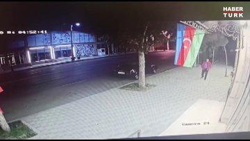 Ermenistan'ın, Azerbaycan'ın Gence kentini vurma anı güvenlik kameralarına yansıdı