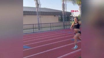 Hamileliğinin son haftasında iddia için 1,5 kilometre koştu