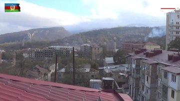 Azerbaycan ordusu, işgalden kurtarılan Şuşa kentinde Azerbaycan bayrağını dalgalandırdı