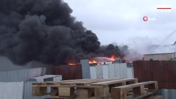 Tuzla'da fabrika bahçesinde korkutan yangın