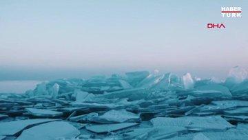 Buz tutan Kapchagay göleti dronla görüntülendi