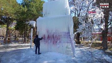 Buz kütlesinin profesörün üzerine düşme anı kamerada