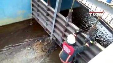 Kanalda mahsur kaldı, itfaiye kurtardı