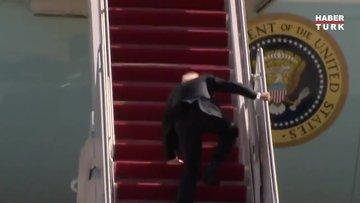 Bidenın uçağa binerken 3 kez düşmesi gündem oldu