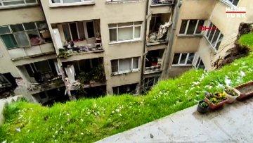 5 katlı binanın istinat duvarı çöktü