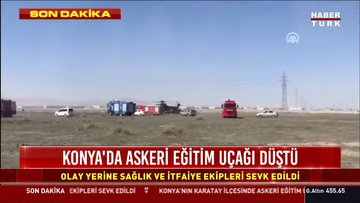 Son dakika: Konya'da gösteri uçağı düştü
