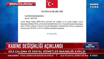 Kabine'de değişiklik: Ruhsar Pekcan yerine Mehmet Muş, iki yeni bakanlık