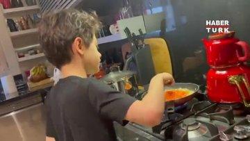 48. yaş gününü kutlayan Cem Yılmaz'a oğlu Kemal spagetti yaptı