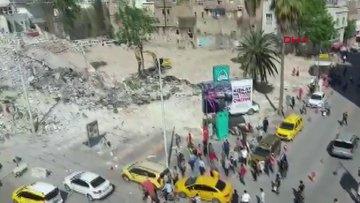 Toz ve gürültüden rahatsız olanlar ile yıkım işçilerinin sopalı kavgası kamerada