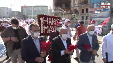 HAK-İŞ Konfederasyonu Taksim'e çelenk bıraktı