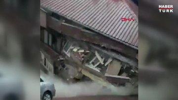 Zeytinburnu'nda binanın çökme anı kamerada