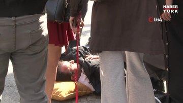 Nişantaşı'nda moto kuryenin çarptığı yayaya vatandaşlar yardım etti