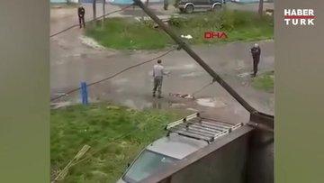 Polise bombayla gözdağı vermeye çalıştı, bomba elinde patladı